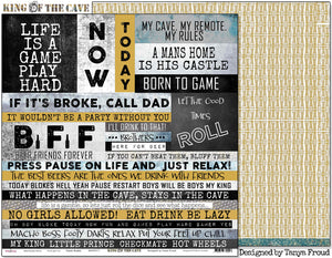 "Cave Rules - 12""x12"" Scrapbooking Paper - Word Sheet"