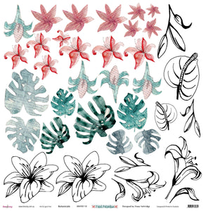 "Botanicals - 12""x12"" Scrapbooking Paper - Cut & Colour"