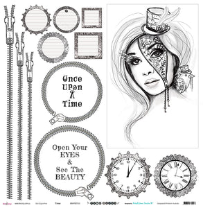 "Time - 12""x12"" Scrapbooking Paper Cut & Colour"