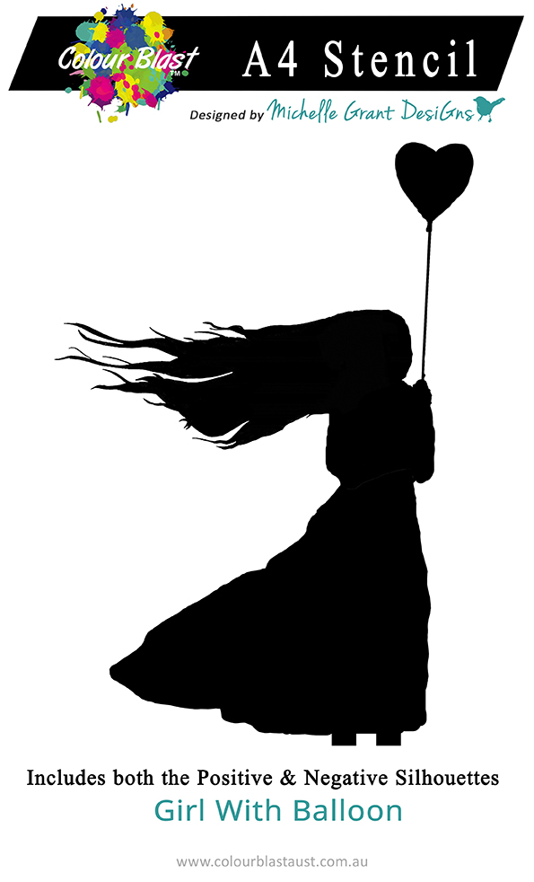 Girl with Balloon - A4 Stencil