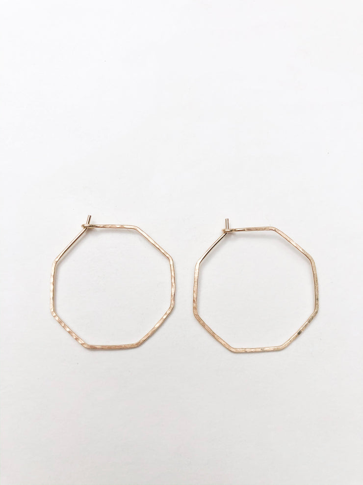 Tansy + Birch Hammered Octagon Hoops