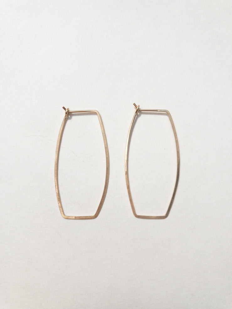 Tansy + Birch Hammered Rectangle Hoops
