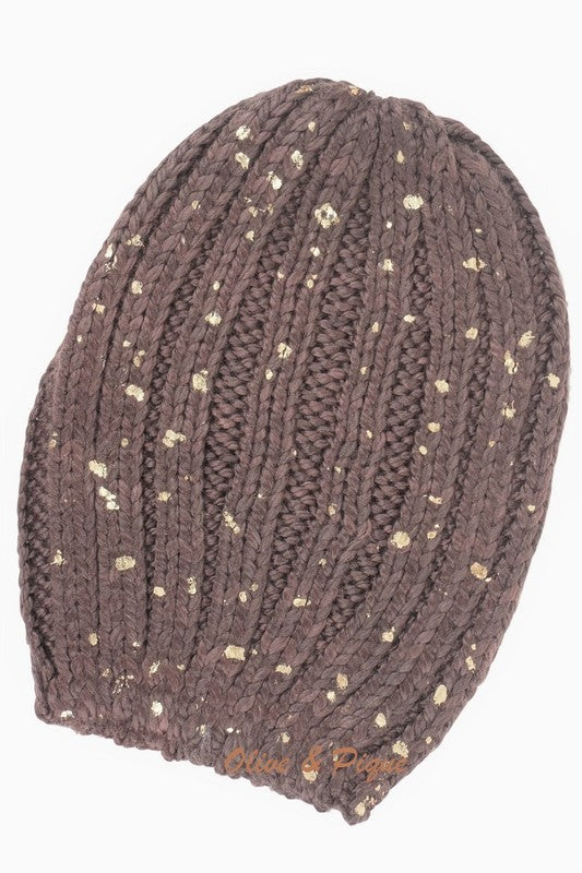 Gold Spotted Knit Beanie