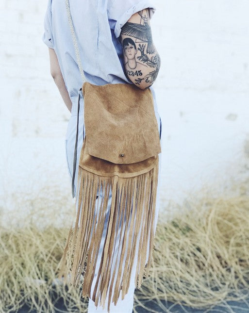 Wild Wanderer Design Suede Fringe Crossbody Bag