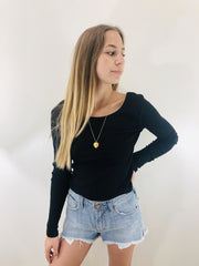Chaser Long Sleeve Double Scoop Crop Top