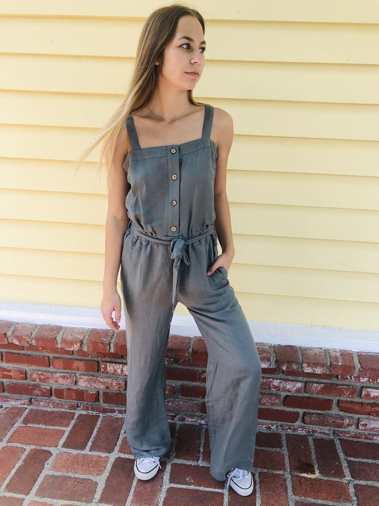 Chaser Wide Leg Button Front Jumpsuit