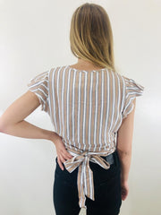 Chaser Short Sleeve Flutter Wrap Crop Top