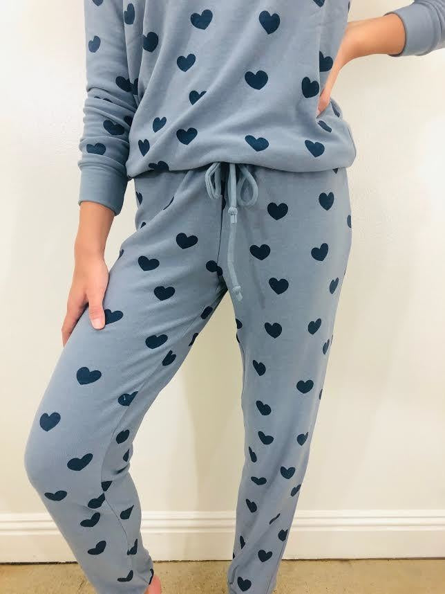 Chaser Brand Blue Hearts Cozy Knit Pant