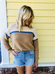 Lush Color Block Knit Sweater