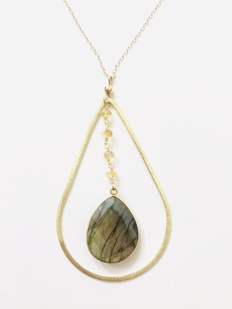 Natali Mour Moonstone Teardrop Necklace