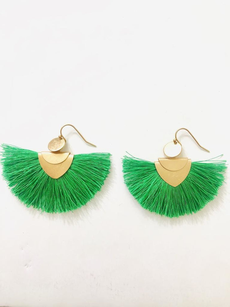 Salt and Freckles Green Fringe Earrings