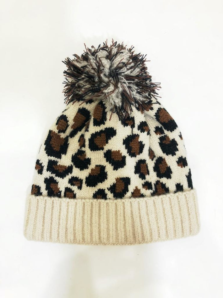 Leopard Contrast Beanie