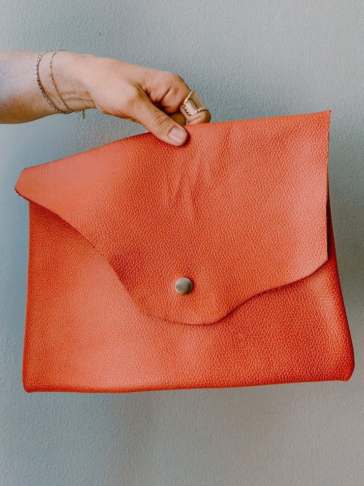 Wild Wanderer Design Orange Leather Clutch