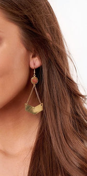 Gemstone Geo Earring
