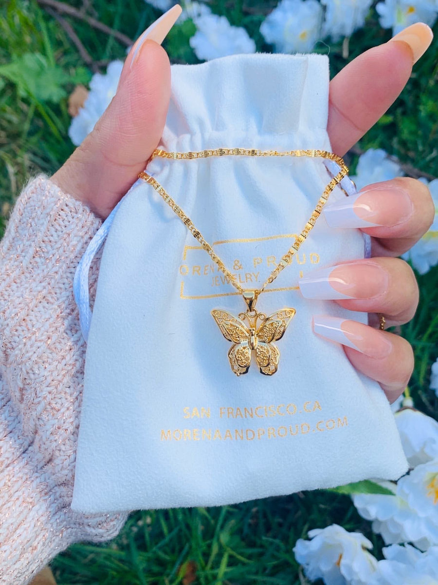 24K Mini Gold Butterfly Necklace