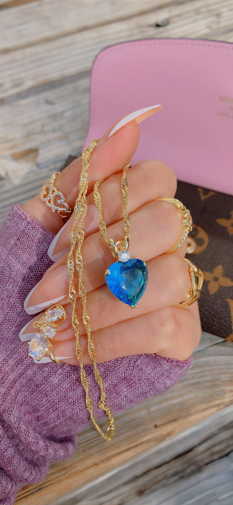 Royal Blue Heart Necklace