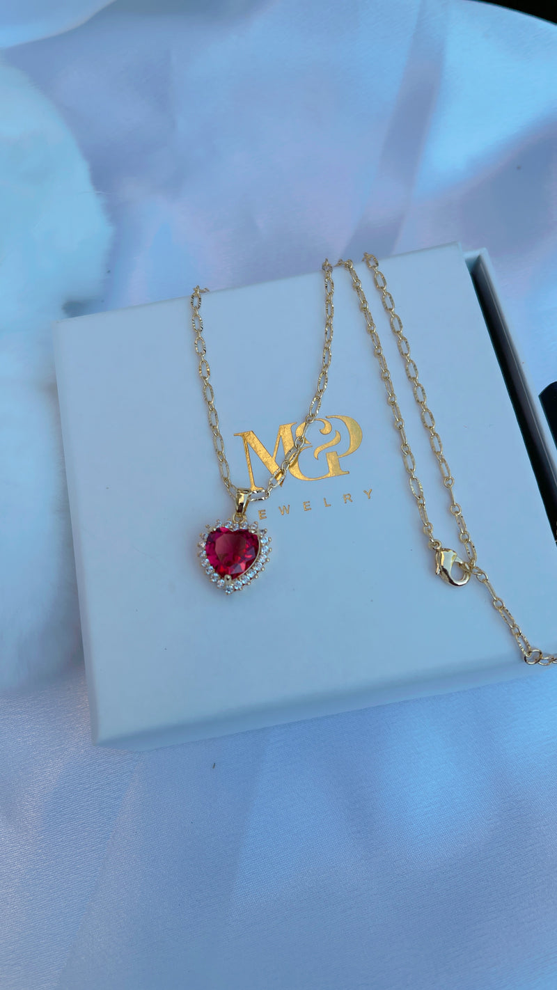 Diamond Red Heart Necklace