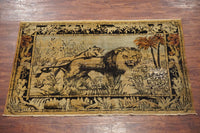 4X6 Antique Pictorial Lion and Lioness Agra, circa 1900
