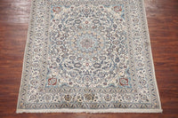 6X8 Ivory Wool and Silk Persian Naein Area Rug