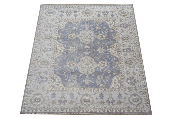 8X10 Gray Oushak Hand-Knotted Rug