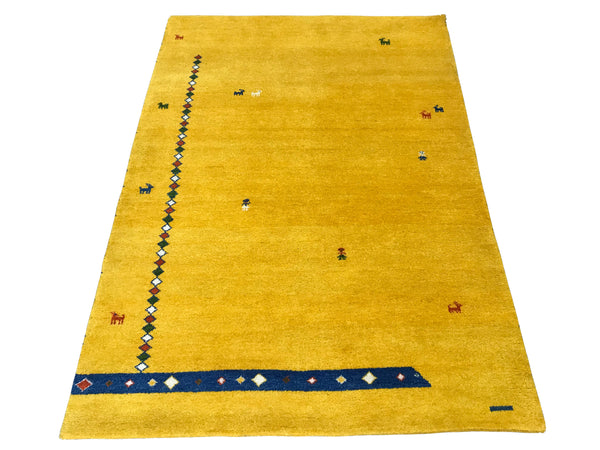 5X7 Fine Twisted Wool Gabbeh Gold Area Rug