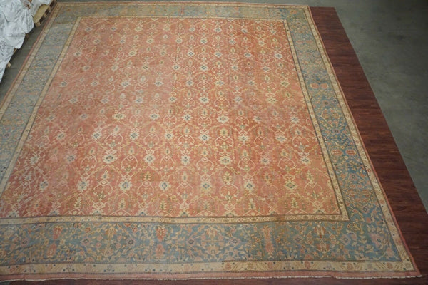 19X20 Antique Square Oushak, circa 1900
