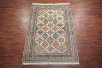 6X9 Ivory Wool and Silk Persian Naein Area Rug, circa 1970
