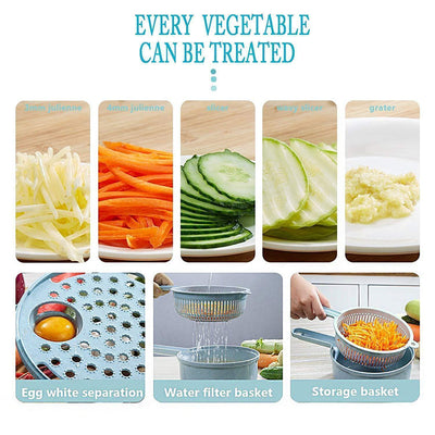 9 Sets Multi-Function Vegetable Slicer, Blue