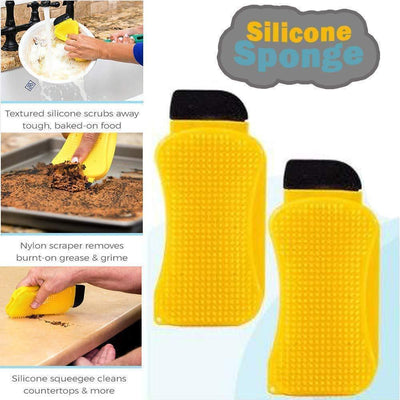 3-in-1 Silicone Cleaning Brush Scrub,Scrape & Squeegee