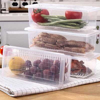 Refrigerator Storage Box with Drain Tray