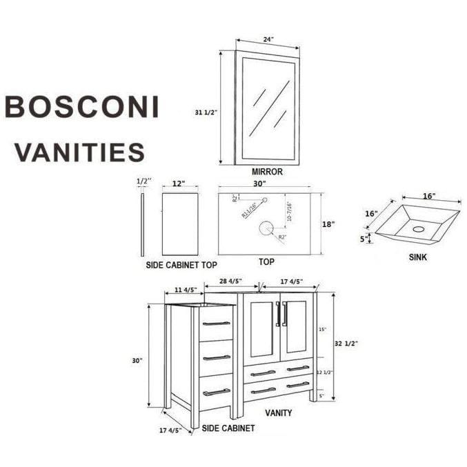 "Bosconi 96"" Double Vanity Bathroom Vanity AB230SQCM3S"