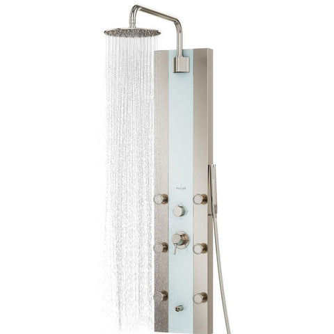 PULSE ShowerSpas Tropicana Brushed Stainless Steel Shower Panel 1039W-BN