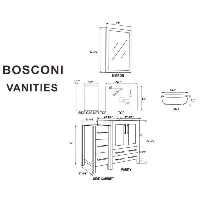 "Bosconi 72"" Double Vanity Bathroom Vanity AB224BWLCWG2S"