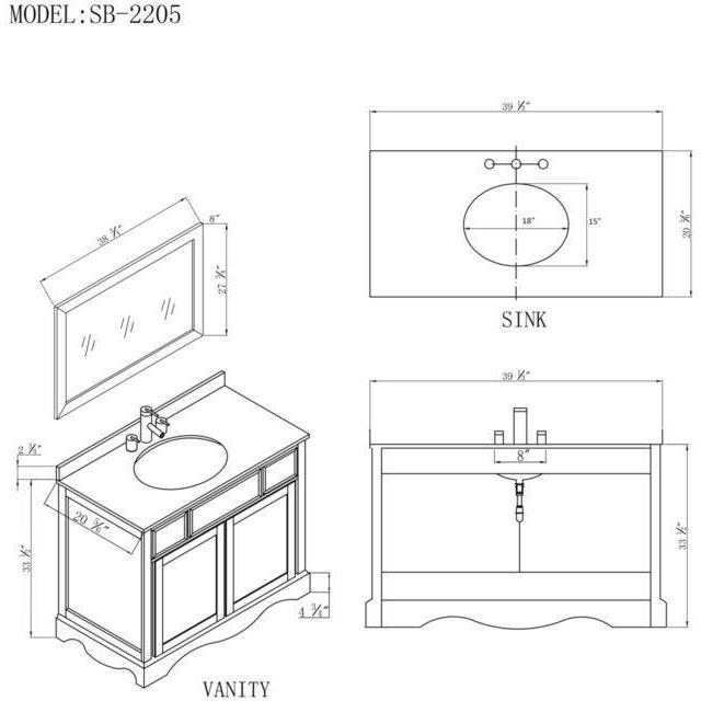 "Bosconi 39"" Single Vanity Bathroom Vanity SB-2205"