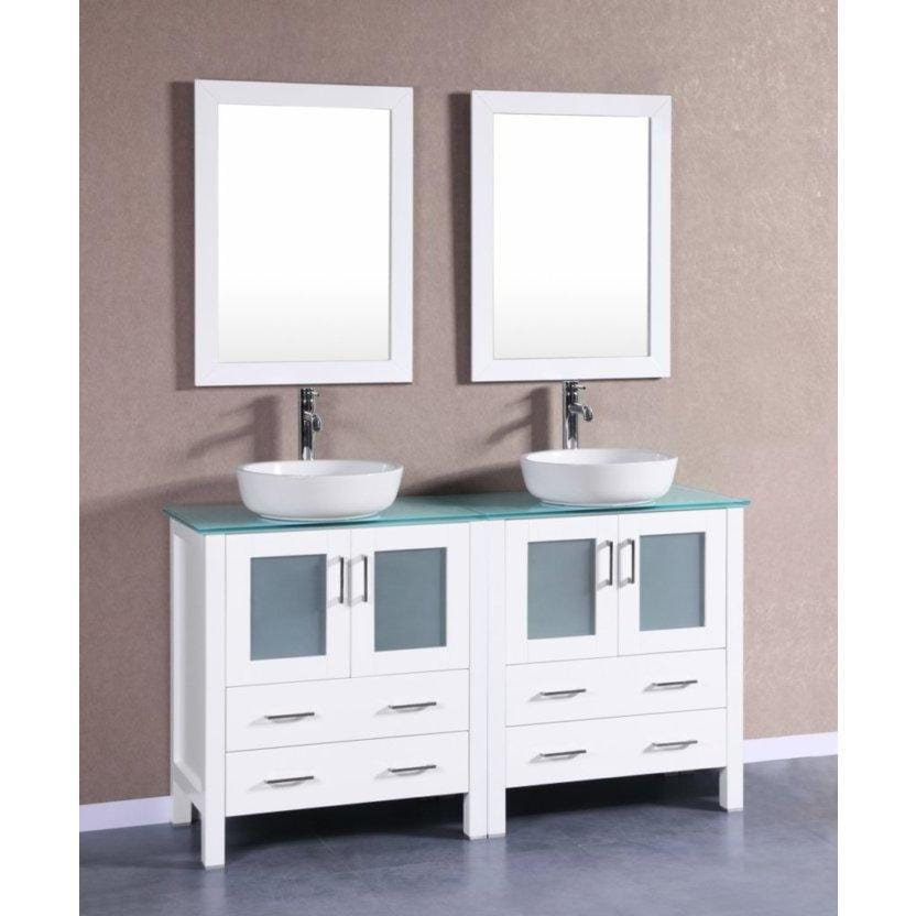 "Bosconi 60"" Double Vanity Bathroom Vanity AW230BWLCWG"
