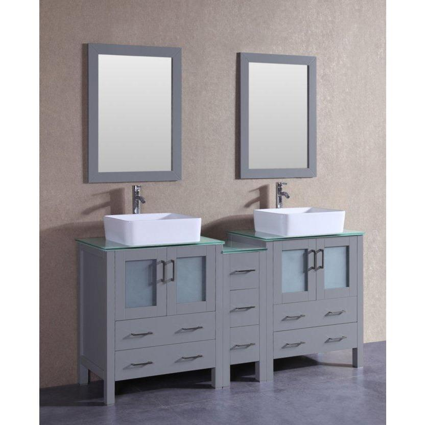 "Bosconi 72"" Double Vanity Bathroom Vanity AGR230RCCWG1S"