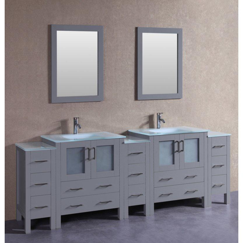 "Bosconi 96"" Double Vanity Bathroom Vanity AGR230EWGU3S"