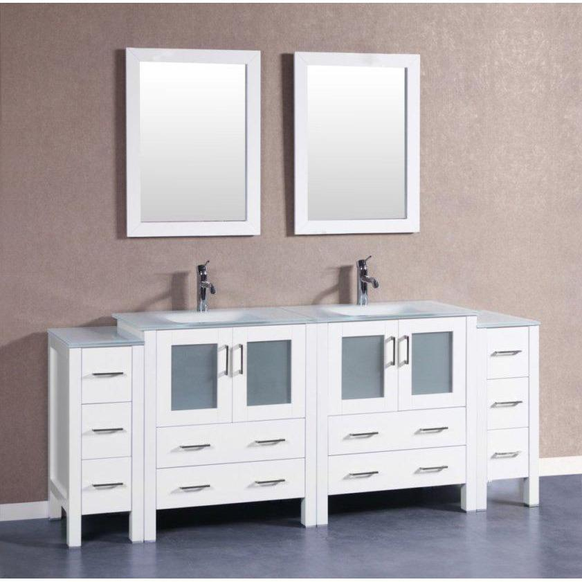 "Bosconi 84"" Double Vanity Bathroom Vanity AW230EWGU2S"