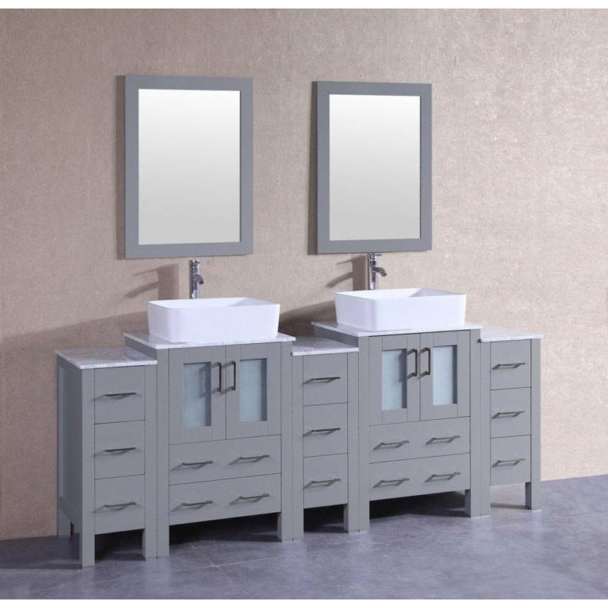 "Bosconi 84"" Double Vanity Bathroom Vanity AGR224RCCM3S"