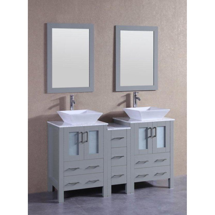 "Bosconi 60"" Double Vanity Bathroom Vanity AGR224SQCM1S"