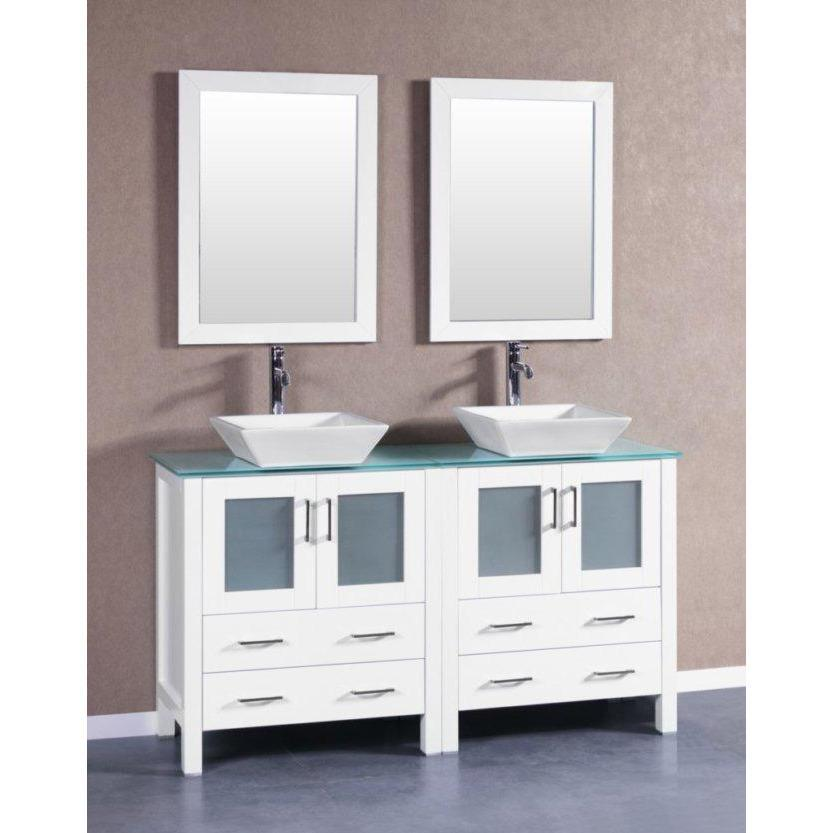 "Bosconi 60"" Double Vanity Bathroom Vanity AW230SQCWG"