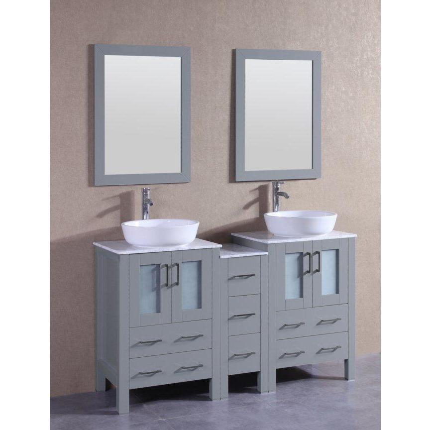 "Bosconi 60"" Double Vanity Bathroom Vanity AGR224BWLCM1S"