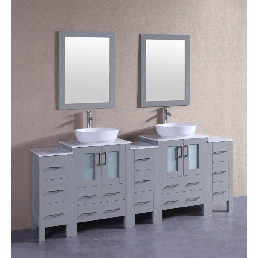 "Bosconi 84"" Double Vanity Bathroom Vanity AGR224BWLCM3S"