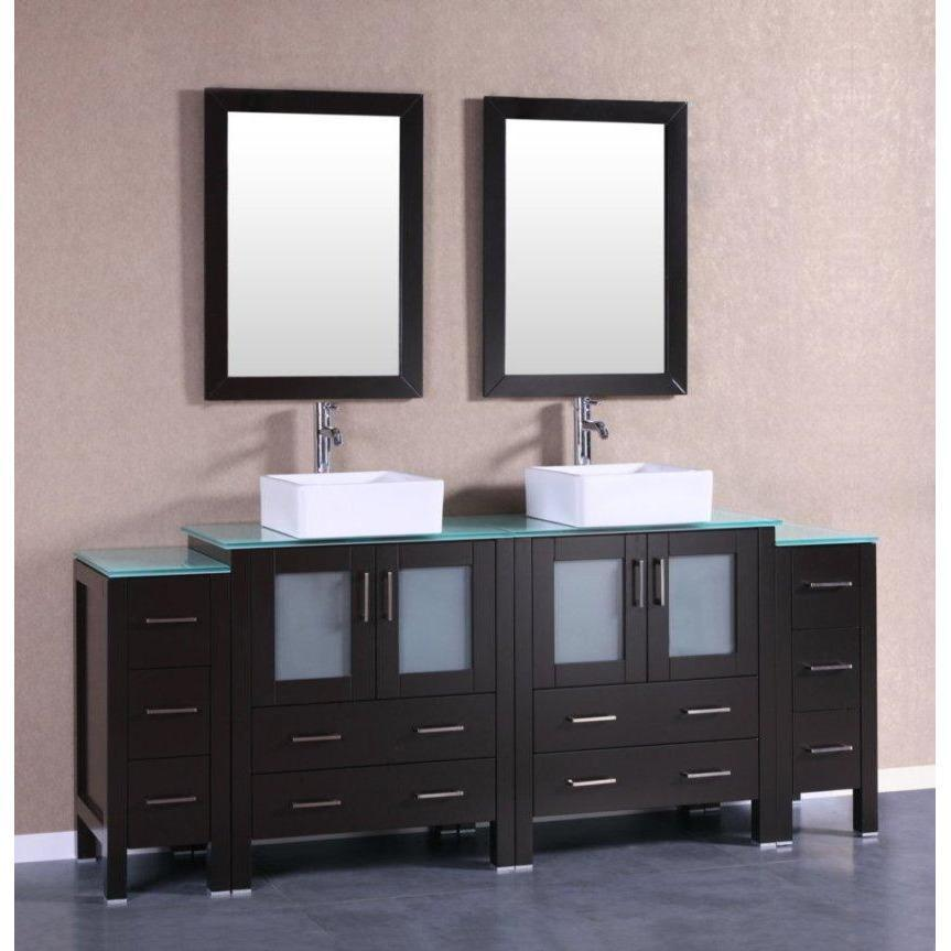 "Bosconi 84"" Double Vanity Bathroom Vanity AB230CBECWG2S"
