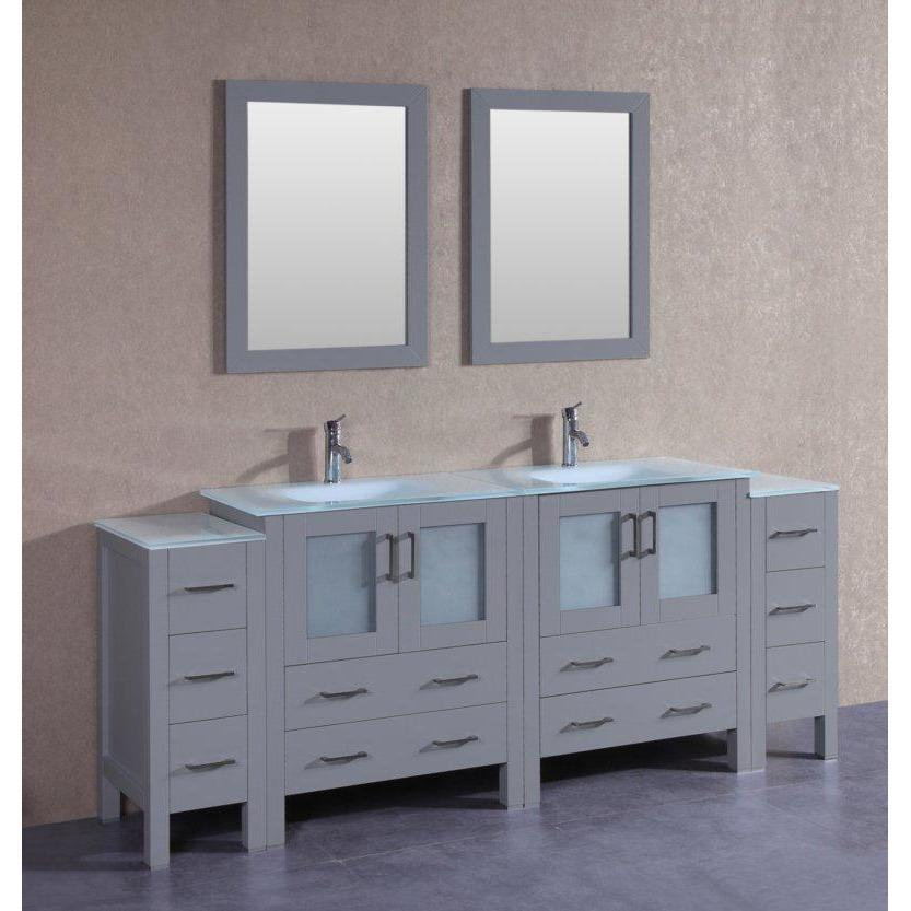 "Bosconi 84"" Double Vanity Bathroom Vanity AGR230EWGU2S"