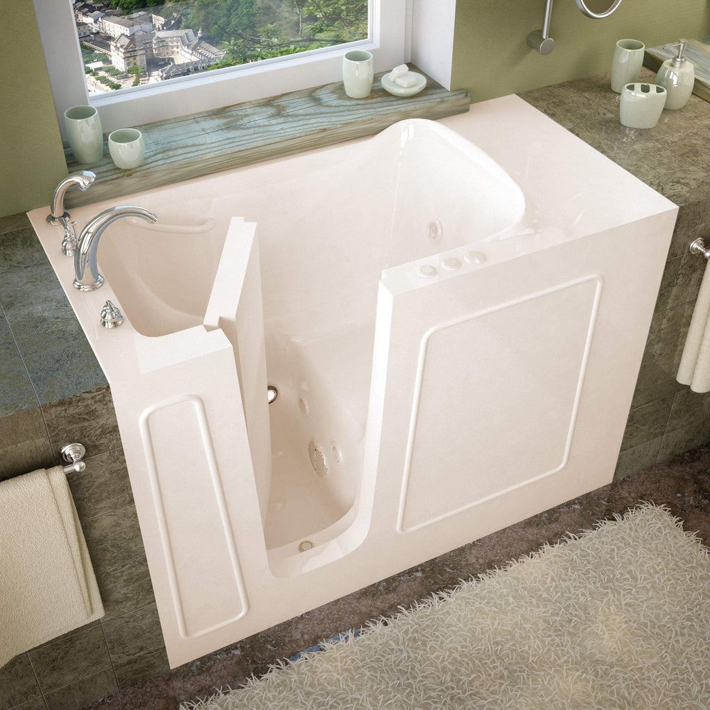 Meditub Walk-In Left Drain Whirlpool Jetted Biscuit Bathtub 2653LBH