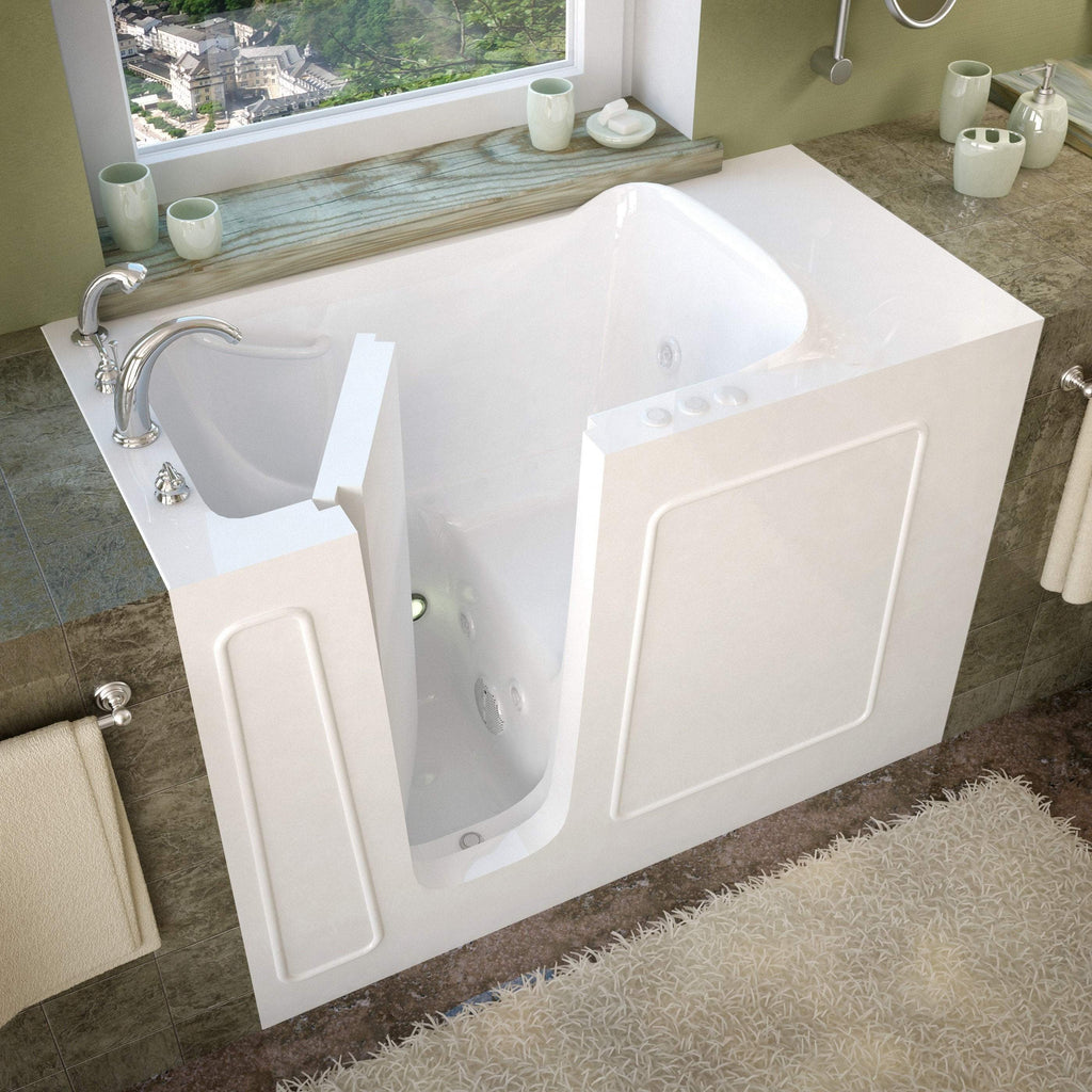 Meditub Walk-In Left Drain Whirlpool Jetted White Bathtub 2653LWH