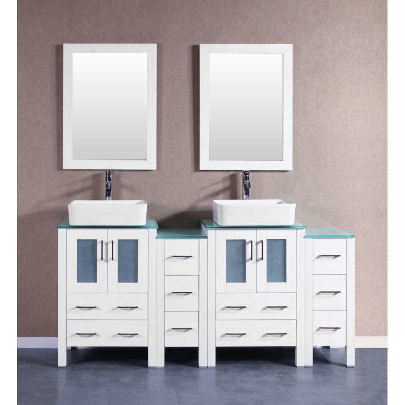 "Bosconi 72"" Double Vanity Bathroom Vanity AW224RCCWG2S"