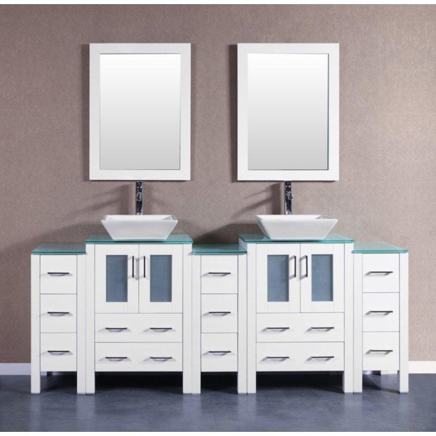 "Bosconi 84"" Double Vanity Bathroom Vanity AW224SQCWG3S"