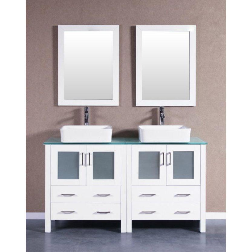 "Bosconi 60"" Double Vanity Bathroom Vanity AW230RCCWG"